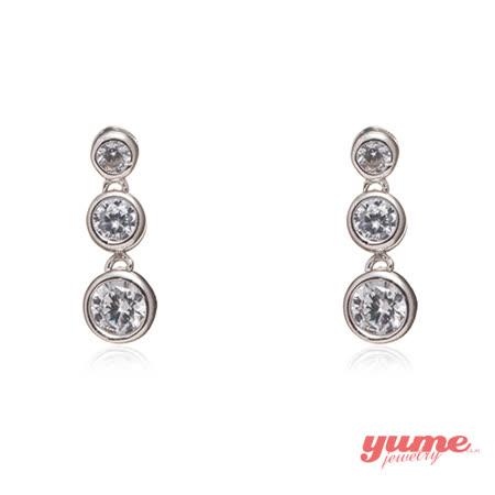 【YUME】奢華三垂鑽耳環