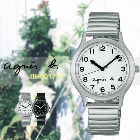 agnes b. 25周年紀念復刻經典大三針限量腕錶-白x銀/34mm/VJ21-KR00S(BH8017X1)