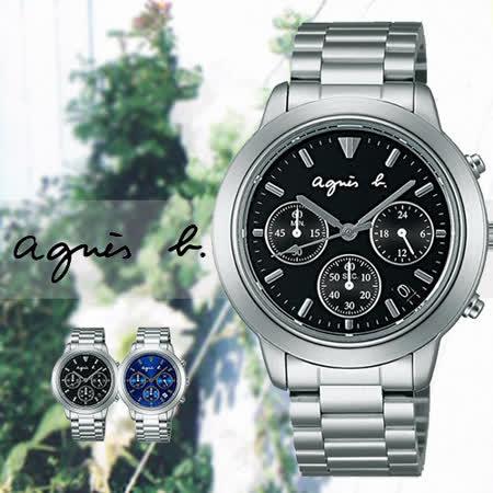 agnes b. 法國藝術簡約時尚三眼男用腕錶-39mm/V654-6100