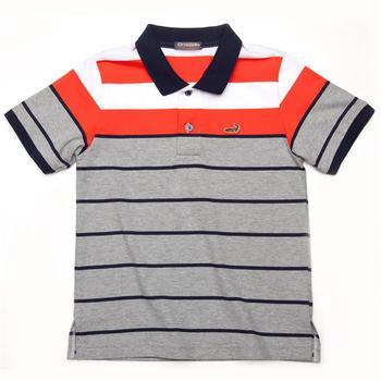 『小鱷魚童裝』網眼條紋彈性POLO衫(08號~10號)335104