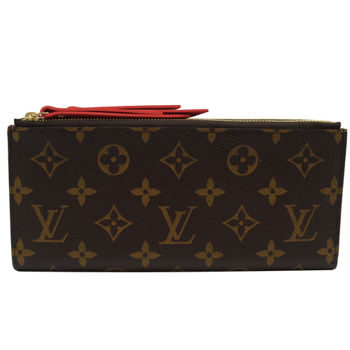 Louis Vuitton LV M61287 Adele 花紋雙拉鍊扣式長夾.橘紅_