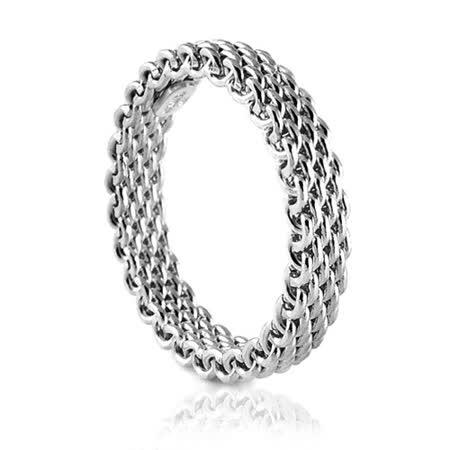 TIFFANY&Co. Somerset 編織造型18K白金戒指【7號】