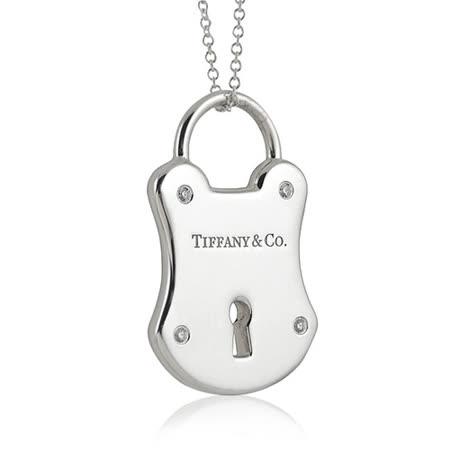 TIFFANY&Co. 純銀鎖頭造型鑲鑽項鍊