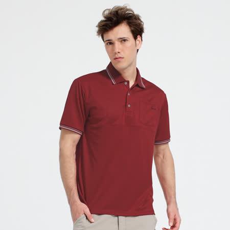 【hilltop山頂鳥】男款X-STATIC銀纖維短袖POLO衫S14MB3-紅
