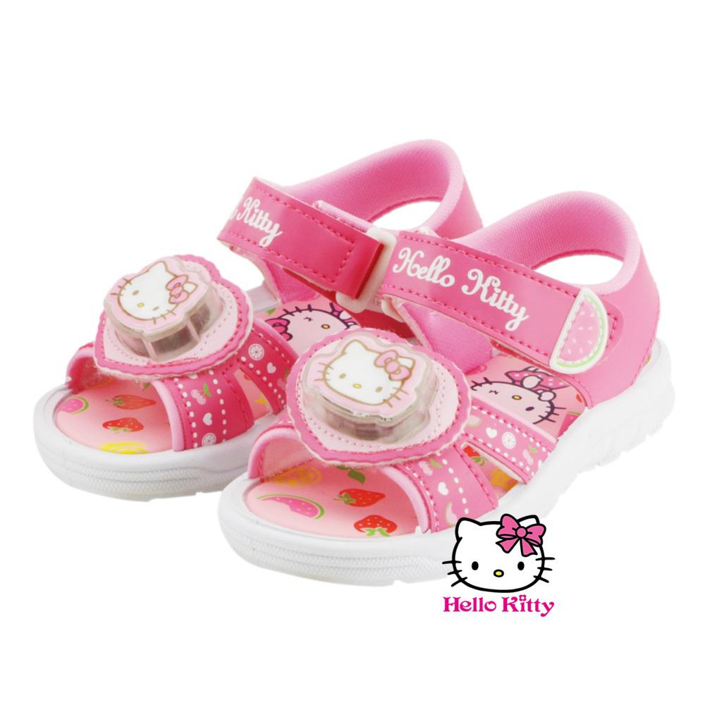 ~MODAbobo~Hello Kitty 中大童段 春夏閃亮發光電燈鞋~桃 T6S2~8