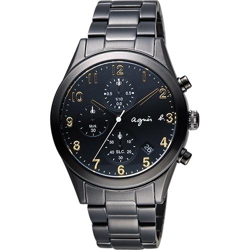 agnes b. 巴黎城市風尚計時腕錶-黑x金時標/40mm VD57-KT20K(BM3010X1)