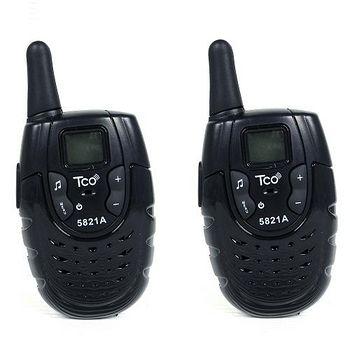 TCO 5821A 超迷你馬卡龍 無線電對講機 多人通話 簡單操作 FRS免執照 (神秘黑 簡配2入組)