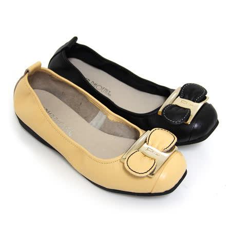 【GREEN PHOENIX】方形金屬片立體蝴蝶結全真皮平底娃娃鞋