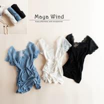【Maya Collection】日款V領拼接蕾絲莫代爾T恤 (共二色)