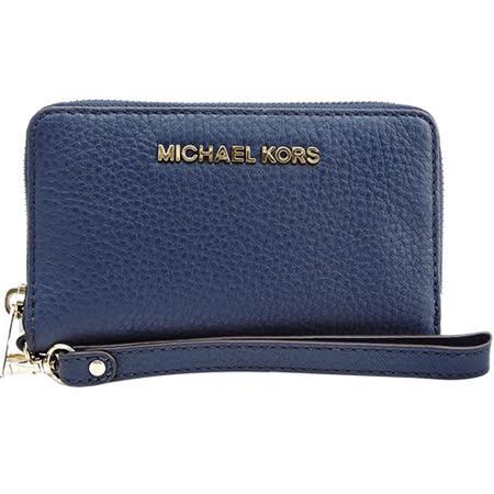 MICHAEL KORS BEDFORD荔枝皮ㄇ字對開手機包(深藍)