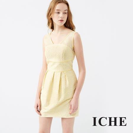 ICHE衣哲 立體提花馬甲打摺禮服洋裝