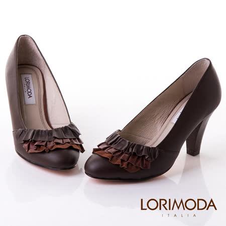 【LORIMODA】義大利手工鞋【俏麗】皮革蛋糕裙高跟包鞋真皮防滑底 ANCONA.15(咖啡色)