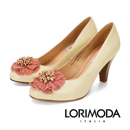 【LORIMODA】素面皮革花高跟包鞋真皮防滑底 ANCONA.16(米白)