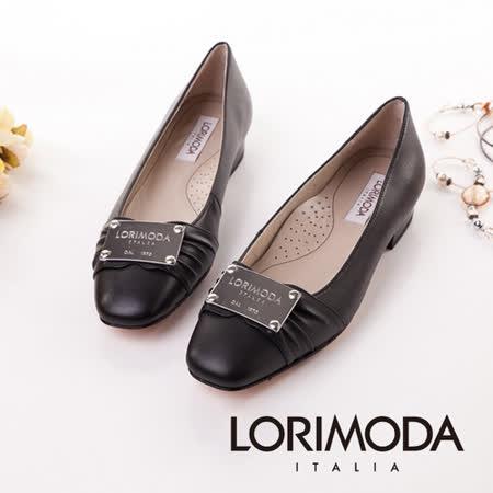 【LORIMODA】義大利手工鞋 素面皮革大金屬品牌低跟包鞋真皮防滑底 ASSISI.9(黑色)