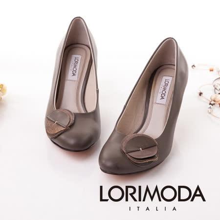 【LORIMODA】義大利手工鞋 素圓尖頭中跟包鞋鞋‧透氣‧吸汗‧除臭,皮底 CINGUETERE.10(灰棕色)