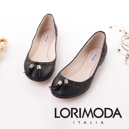 【LORIMODA】義大利手工鞋【穿越】精細手工穿條平底包鞋‧透氣‧吸汗‧除臭,真皮防滑底 CREMONA.8(黑色)