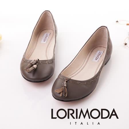 【LORIMODA】義大利手工鞋【穿越】精細手工穿條平底包鞋‧透氣‧吸汗‧除臭,真皮防滑底 CREMONA.8(灰棕色)
