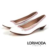 【LORIMODA】義大利手工鞋【隨性】高光澤皮革配色車線低跟包鞋真皮防滑底 NAVARA.A15(白色)