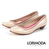 【LORIMODA】義大利手工鞋【隨性】高光澤皮革配色車線低跟包鞋真皮防滑底 NAVARA.A15(膚色)