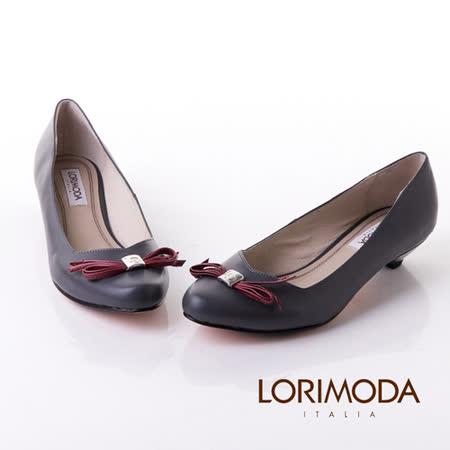 【LORIMODA】義大利手工鞋【隨性】高光澤皮革手工蝴蝶結低跟包鞋真皮防滑底 NAVARA.A15(深灰)
