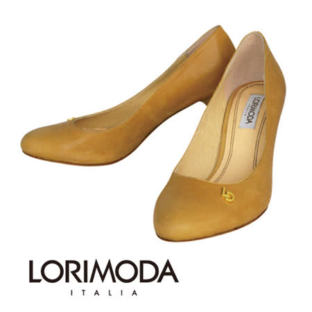 【LORIMODA】義大利手工鞋 高光澤素面皮革中跟包鞋‧透氣‧吸汗‧除臭‧真皮防滑底 PESARO.A9(駝色)