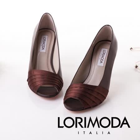 【LORIMODA】義大利手工鞋【皇家折緞布】真皮高跟包鞋皮底 RIMINI.10(咖啡色)