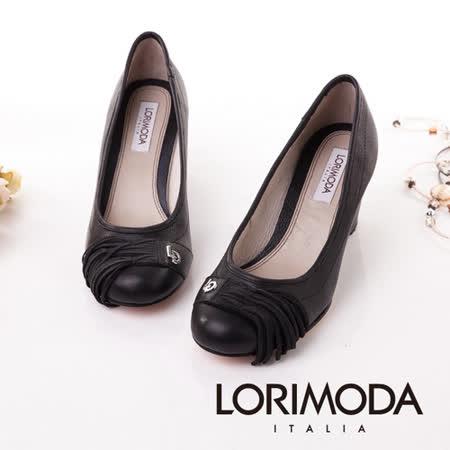 【LORIMODA】義大利手工鞋 流蘇素面楔型跟包鞋皮底 SAVONA.4(黑色)