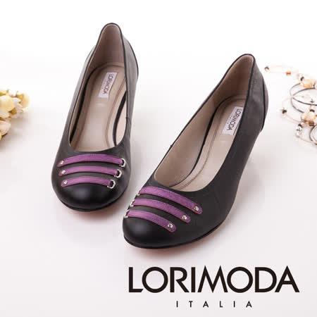 【LORIMODA】義大利手工鞋【穿越時空】皮革穿條鞋‧透氣‧吸汗‧除臭,低跟包鞋防滑真皮底 TRAPANI.5(黑色)