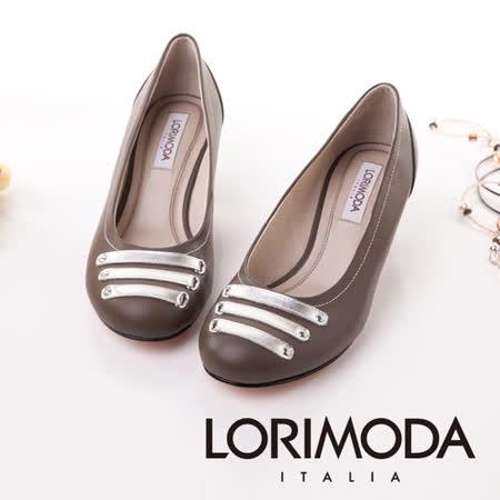 【LORIMODA】義大利手工鞋【穿越時空】皮革穿條鞋‧透氣‧吸汗‧除臭,低跟包鞋防滑真皮底 TRAPANI.5(深灰)