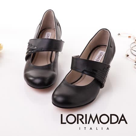 【LORIMODA】義大利手工鞋 大腳背帶員頭娃娃粗低跟包鞋真皮防滑底 TRAPANI.7(黑色)