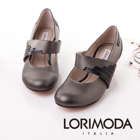 【LORIMODA】義大利手工鞋 大腳背帶員頭娃娃粗低跟包鞋真皮防滑底 TRAPANI.7(深灰)