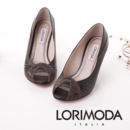 【LORIMODA】義大利手工鞋 雙時尚魚口粗低跟包鞋真皮防滑底 TRAVISO.8(黑色)