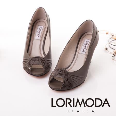 【LORIMODA】義大利手工鞋 雙時尚魚口粗低跟包鞋真皮防滑底 TRAVISO.8(灰棕色)