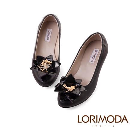 【LORIMODA】義大利手工鞋 皮革花束口低跟包鞋真皮防滑底 VATICANCITY13(黑色)