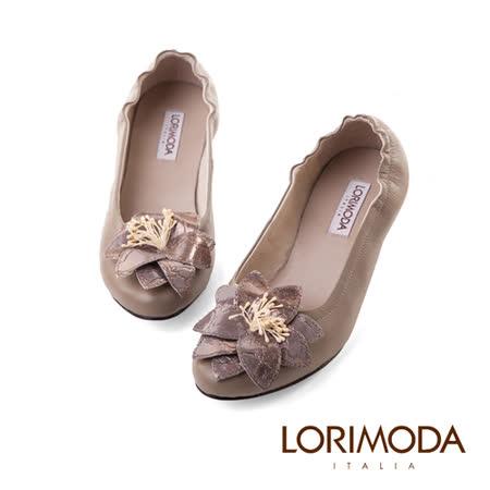 【LORIMODA】義大利手工鞋 皮革花束口低跟包鞋真皮防滑底 VATICANCITY13(灰色)
