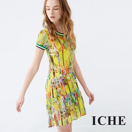 ICHE衣哲 滾邊渡假印花造型洋裝