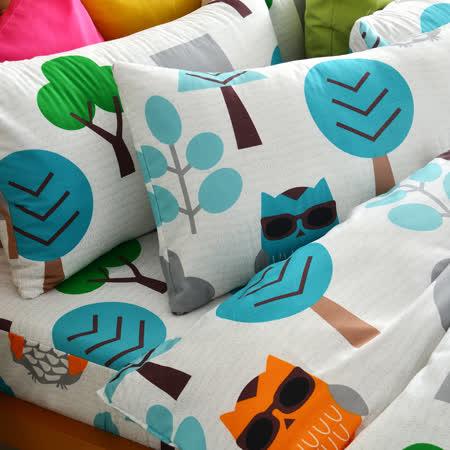 美夢元素 台灣製天鵝絨 暗光鳥 加大三件式床包組