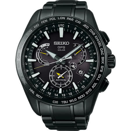 SEIKO ASTRON GPS 鈦 衛星太陽能電波腕錶-黑/45mm 8X53-0AD0SD(SSE079J1)