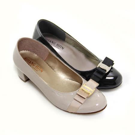 【Pretty】鑽飾雙層法式蝴蝶結中跟娃娃鞋