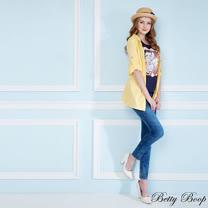 【Betty Boop貝蒂】木釦繡圖兩穿式連帽外套(共二色)