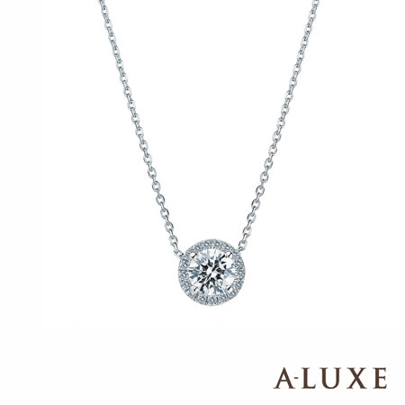 A-LUXE 亞立詩 18K金 0.30克拉  4爪奢華典雅鑽石項鍊