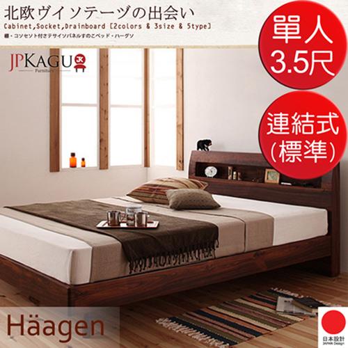 JP Kagu 附床頭櫃與插座北歐復古風床組~連結式床墊^( ^)單人3.5尺^(2色^)