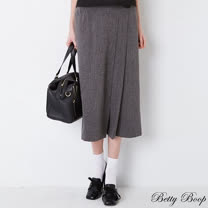 【Betty Boop貝蒂】壓褶單口袋後鬆緊八分寬褲(共二色)