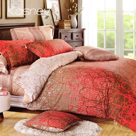 《KOSNEY 夕霧彩虹》特大精梳棉四件式兩用被床包組