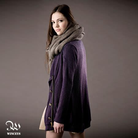 WINCEYS 秋冬百搭寬鬆拉鍊毛衣外套-紫