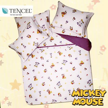 《迪士尼-米奇好伙伴》雙人四件式高級天絲兩用被床包組