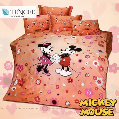 《迪士尼-米奇愛情花海》雙人四件式高級天絲兩用被床包組