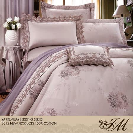 《JM-古雅花郁-灰》雙人八件式精梳純棉精品床罩組