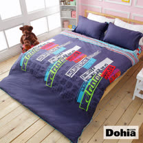 《Dohia-阿里斯騰》活性印染雙人加大四件式精梳純棉兩用被薄床包組