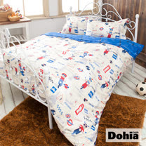 《Dohia-皮皮遊英倫》高級寬幅布雙人四件式精梳純棉兩用被薄床包組